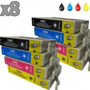 8 cartouches compatibles Epson T1291 à T1294 lot T1295