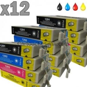 12 cartouches compatibles Epson T1291 à T1294 lot T1295