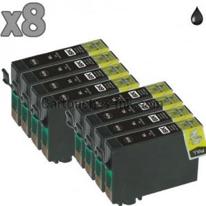 8 cartouches compatibles Epson T1291 noir