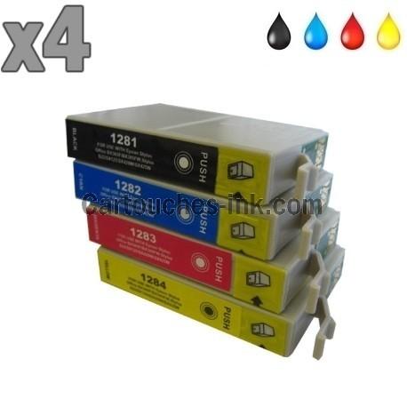 4 cartouches compatibles Epson T1281 à T1284 lot T1285
