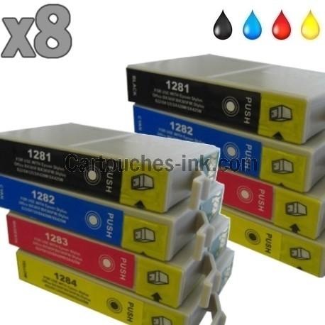 8 cartouches compatibles Epson T1281 à T1284 lot T1285