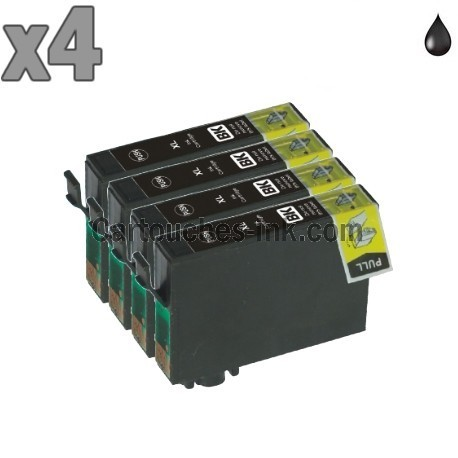 4 cartouches compatibles Epson T1281 noir