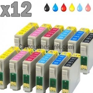 12 cartouches compatibles Epson T0801 à T0806 lot T0807
