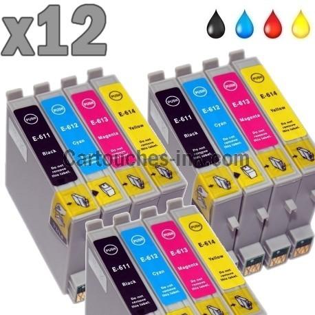 12 cartouches compatibles Epson T0611 à T0614 lot T0615