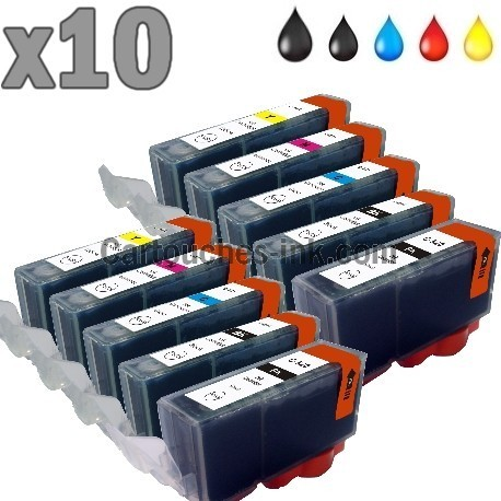 10 cartouches compatibles Canon PGI-520 CLI-521