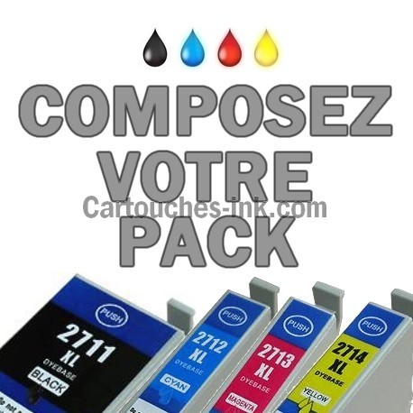 Cartouches compatibles Epson T2711, T2712, T2713, T2714, lot T2715 ou 27XL