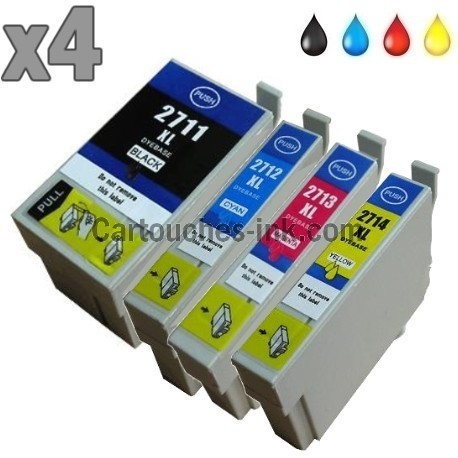 4 cartouches compatibles Epson T2711, T2712, T2713, T2714, lot T2715 ou 27XL