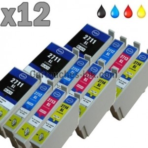 12 cartouches compatibles Epson T2711, T2712, T2713, T2714, T2715, 27XL.
