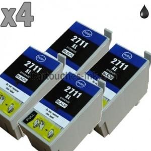 4 cartouches noir compatibles Epson T2711 BK
