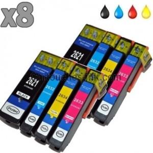 8 cartouches compatibles Epson T2621 à T2634, lot T2636 ou 26XL