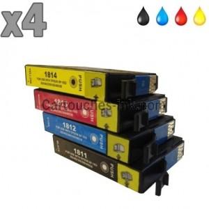 4 cartouches compatibles Epson T1811 à T814, lot T1816 ou 18XL