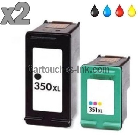 2 cartouches compatibles HP350XL HP351XL