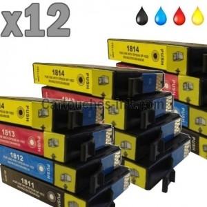 12 cartouches compatibles Epson T1811 à T814, lot T1816 ou 18XL