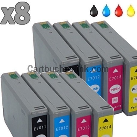 8 cartouches compatibles Epson T7011, T7012, T7013, T7014, lot T7015